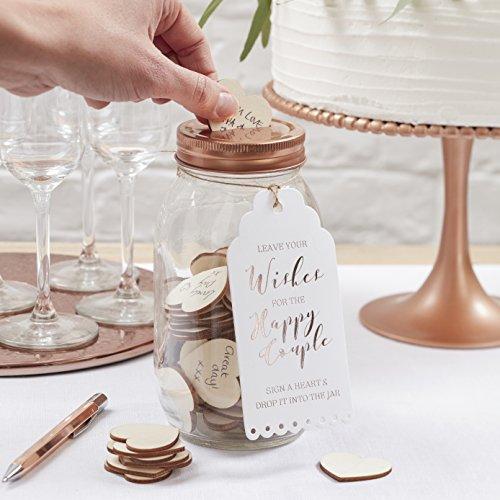 Ginger Ray Libro de visitas de boda alternativo - deseando tarro con hermosos botánicos [rosa]