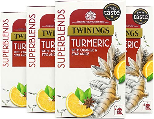 Twinings Superblends Turmeric, 80 Tea Bags, (Multipack of 4 x 20 Bags)