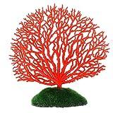 STOBOK Tira de adorno de coral artificial para decoración artificial de pecera, acuario, paisaje, color rojo