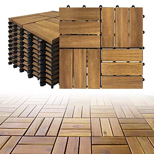 LZQ Holzfliesen aus Akazien Holz, 30 x 30cm 22er Set für 2 m², Garten-Fliese Bodenbelag mit Drainage, Klick-Fliesen für Garten Terrasse Balkon (Model B, 22 Stück | 2m²)