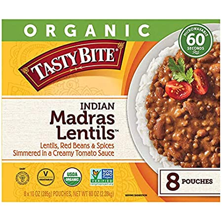 Amazon Com Tasty Bite Indian Madras Lentils Microwaveable Ready To Eat Entree 10 Ounce Pack Of 6 Packaged Indian Dishes Grocery Gourmet Food