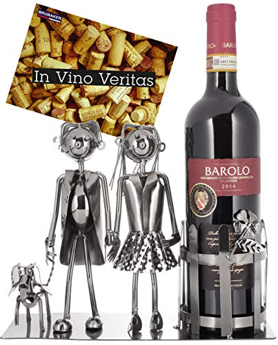 Brubaker Weinflaschenhalter Paar mit Hund - Deko-Objekt Metall - Flaschenständer - mit Grußkarte für Weingeschenk