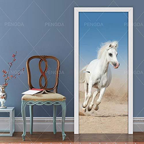 XLXYD deursticker, afbeeldingen, blauwe dierpauw, 3D-deur, sticker, behang, zelfklevend, deurbehang, motief, Forest Shine, voor alle deuren, exclusief als plakfolie, 80 x 200 cm A9.