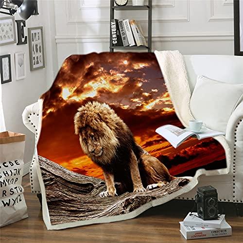 NBVGHJ Colcha de Manta de Felpa de Terciopelo con Estampado de león para niño niña, Manta de sofá, Funda de edredón para sofá 150×130CM