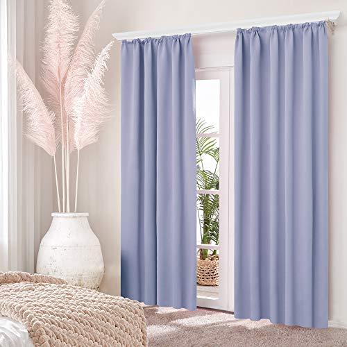 Deconovo Thermovorhang Gardinen verdunklungsvorhänge mit Kräuselband 160x140 cm Lavendel 2er Set