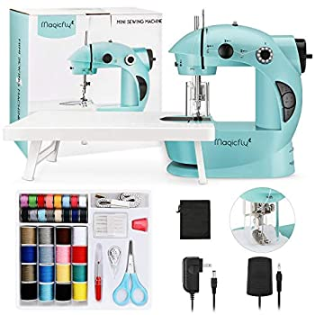 Magicfly Mini Sewing Machine with Extension Table Dual Speed Portable Sewing Machine for Beginner with Light Sewing Kit for Kids Household Blue