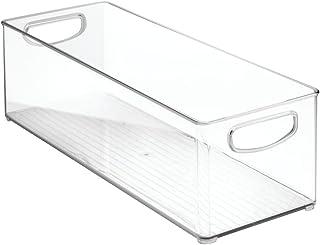 InterDesign Cabinet/Kitchen Binz boîte de rangement, extra-grand bac pour réfrigérateur en plastique, longue boîte, transp...