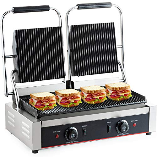 DESENNIE 110V Commercial Panini Grill, Full Grooved Plates, 3600W Electric Contact Grill with Dual Plug, 19x9-inch Non-Stick Sandwich Panini Press...