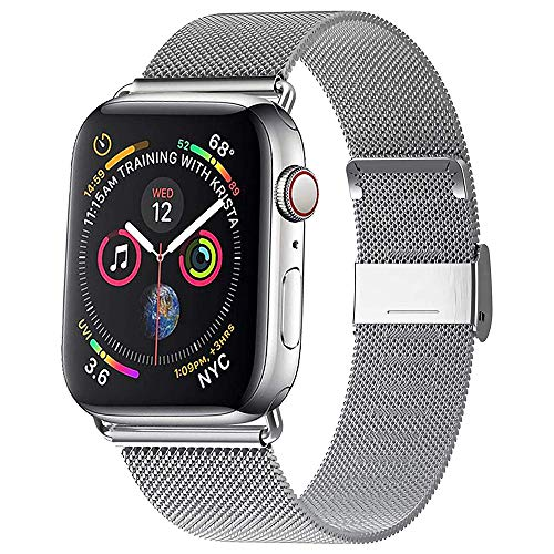 Edelstahl Armband, Ersatzarmband Kompatibel mit Watch 42mm 44mm, Smartwatch Ersatzarmbänder mit Magnet Kompatibel mit Watch Series 5/4/3/2/1 (schwarz)