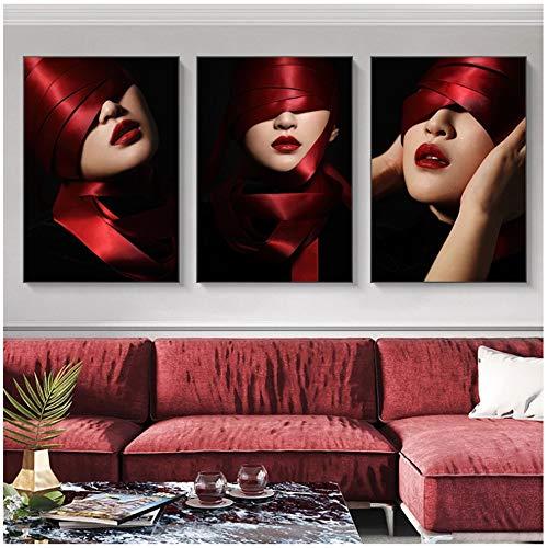 Cinta roja Sombrero Belleza Mujer Lienzo abstracto Pintura Impresión de carteles Imágenes Arte de la pared Dormitorio Sala de estar Decoración del hogar 60x80cm (24x32in) × 3