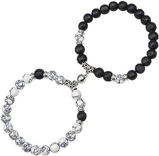 Magnetic Lava Rock Bracelets for Couple - 8mm Natural...