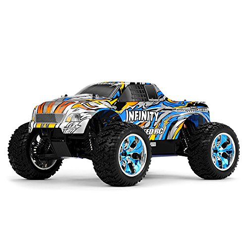 Exceed RC 1/10 2.4Ghz Infinitve Nitro Gas Powered RTR Off Road Monster 4WD Truck Stripe BlueSTARTER KIT Required and Sold Separately