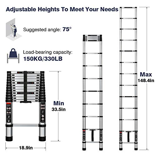Augtarlion 12.5 FT Telescoping Ladder, Aluminum Collapsible Ladder with Locking Mechanism, Heavy Duty 330lbs Load Capacity Extension Ladder, Multi-Purpose Compact Ladder for Household Or Outdoor Work
