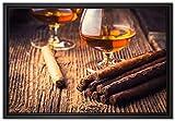 Pixxprint Whisky und Zigarre Leinwandbild 60x40 cm im
