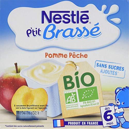 Nestlé Bébé P'tit Brassé BIO Pomme Pêche - Laitage dès 6 mois - 4 x 90g - Pack de 6 ( 24 Laitages )