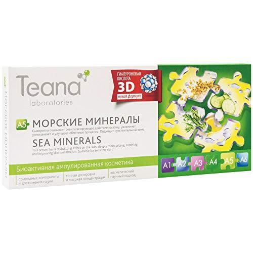 Teana Laboratories A5 Serum Gel de Acido Hialuronico Minirales del Mar Hidratacion Profunda Reduce el Enrojecimiento Tratamiento Natural Facial Reduce Poros 10x2ml