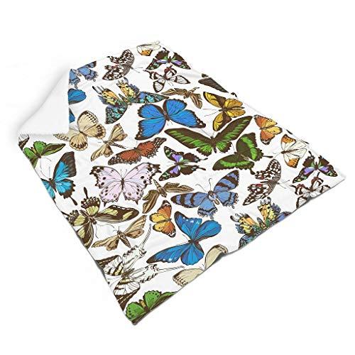 QVOOD Manta suave y cálida de franela con diseño de mariposas, para sofá, cama, color blanco, 130 x 150 cm