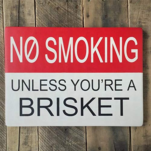 BYRON HOYLE No Smoking Unless You're A Brisket Wood Sign,Wooden Wall Hanging Art,Inspirational Farmhouse Wall Plaque,Rustic Home Decor for Living Room,Nursery,Bedroom,Porch,Gallery Wall