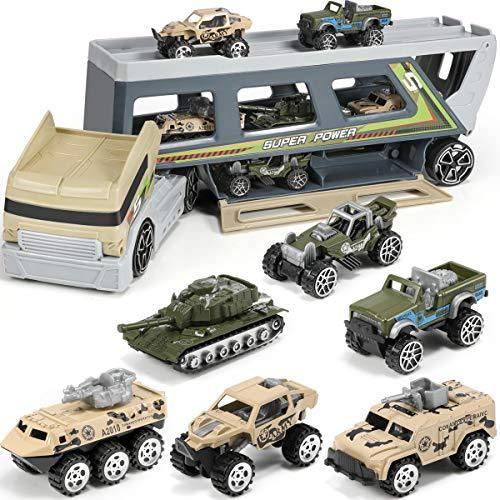 Coches militares, vehículos militares, coches de combate, coches de juguete, vehículos blindados, camiones, juego de juguetes en camión, para niños y niñas