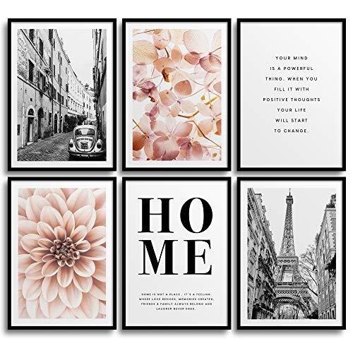 Monoko® Set di 6 poster per soggiorno o camera da letto, con immagini di alta qualità e scritte in lingua inglese, eleganti quadri da parete, senza cornice