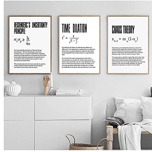 VCFHU DilatacióN del Tiempo Arte De La Pared FíSica Ciencia Poster Impresiones Cita Lienzo Pintura Cuadros Minimalistas Salon De Estar Clase De Oficina Decoracion para El Hogar 40x50cmx3 Sin Marco