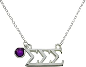 Tri Sigma Sigma Sigma Greek Sorority Lavalier Necklace Pendant Sorority Floating Necklace with Synthetic Birthstone