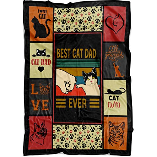 Personalized Cat Throw Blanket Gifts, Best Dad Mom Ever Vintage Items for Cat Lovers Women Men Girls Boys Kids, Funny Things Blankets for Adults Cats Lover on Birthday Christmas (Dad, Fleece)