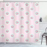 ABAKUHAUS Shabby Chic Duschvorhang, Retro Blumenkabine, mit 12 Ringe Set Wasserdicht Stielvoll Modern Farbfest & Schimmel Resistent, 175x180 cm, Baby Pink Seafoam Weiß