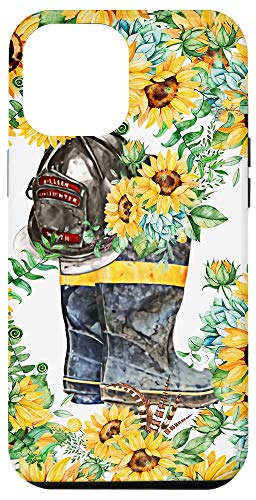 iPhone 12 Pro Max Sunflowers Fireman Firefighter Boots And Hat Wife Support Case