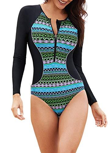 Eytino Damen-Badeanzug mit langen Ärmeln, UV-Schutz, bedruckter Reißverschluss, Surfen, einteiliger Badeanzug (S-3XL) - Gr�n - Large