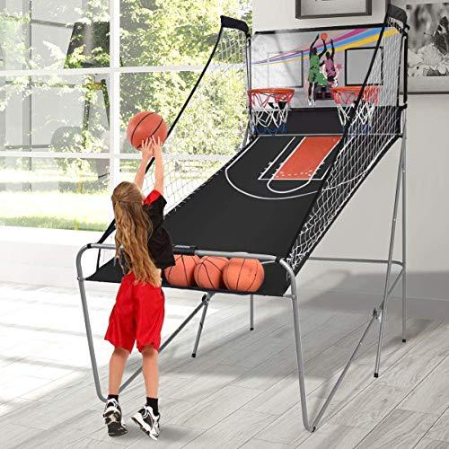 COSTWAY Juego de Canastas Plegable Máquina de Baloncesto Juguete Contador Electrónico con Soporete Red Cesta de Baloncesto 4 Baloncestos