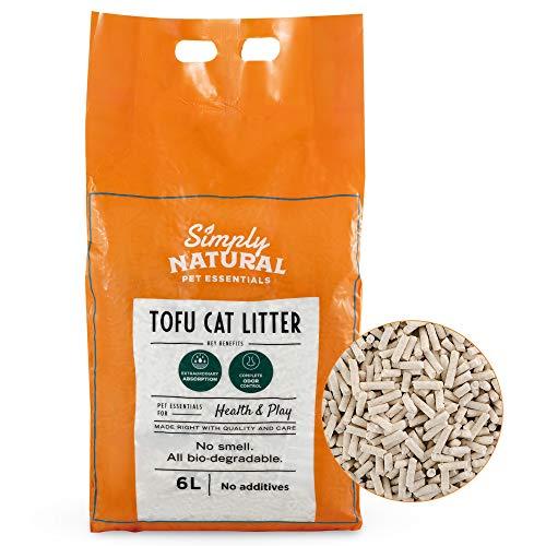 Arena para Gatos de Tofu Simply Natural –Arena para Gatos 100% Natural 6 Litros Biodegradable Fórmula Libre de Polvo e Inodora