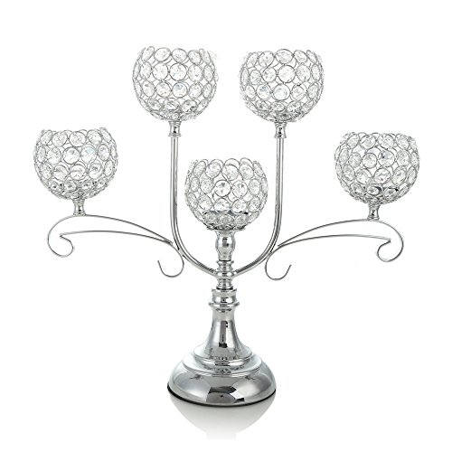 VINCIGANT Silver Crystal Candelabra for Wedding Coffee Table Decorative Centerpiece/Dining Room Tabletop Accessories,House Decor Gift for Anniversary Celebration