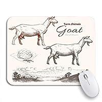 NINEHASA 可愛いマウスパッド ノートブックマウスマット用の滑り止めラバーバッキングコンピューターマウスパッドのヴィンテージヤギアニマル飼育チーズと田舎