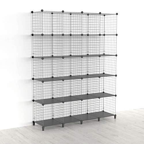 SIMPDIY Estantería de cubo con 20 compartimentos, estantería modular para libros y almacenamiento en forma de cubos, multiusos, sistema de rejilla de alambre para bricolaje, color gris