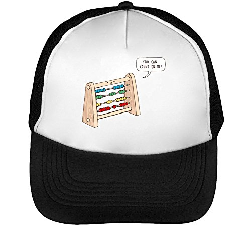 You Can Count On Funny Old School Calculator Graphic Men's Baseball Trucker Cap Hat Snapback Black White