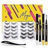 SISILILY Magnetic Eyelashes with Eyeliner, Glue Free Mink Non Magnetic Lashes Kits with 2 Liquid Eyeliner 10 Reusable Waterproof False Eyelashes and Eyelash Tweezers (10 Style) (10 Pair)