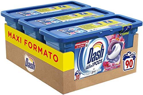 Dash Allin1 Pods 3 in 1 Detersivo Lavatrice in Capsule Primavera, Maxi Formato da 3 x 30 Pezzi, 90 Lavaggi