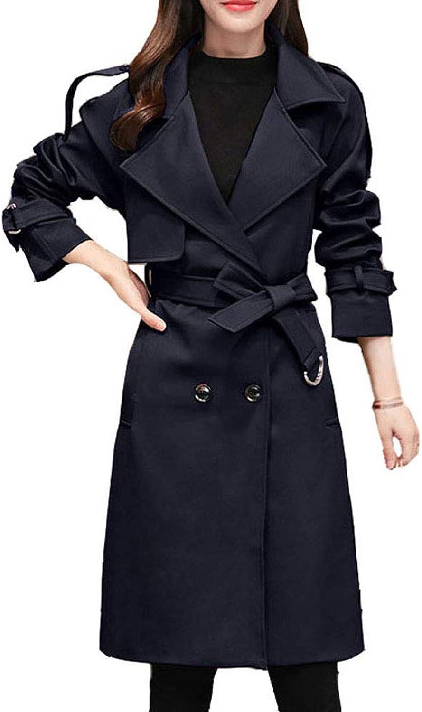 Amalxl Women's Lapel Double Breasted Slim Long Trench Coat Windbreaker
