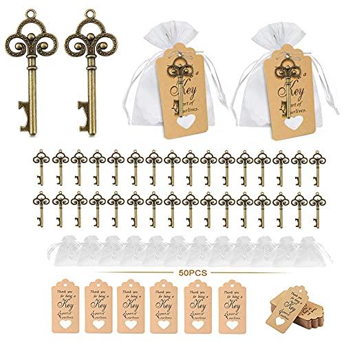 Yuragim - Juego de 50 abrebotellas, diseño vintage de llaves para invitados, bodas, bautizos, comuniones, confirmaciones, bodas, bautizos, etc.