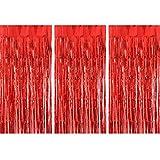 TUPARKA 3 Piezas Cortinas de Papel de Aluminio Feliz Navidad Cortina de Flecos de Papel metálico para cumpleaños Fiesta de Bodas Foto Telón de Fondo Decoraciones, Rojo