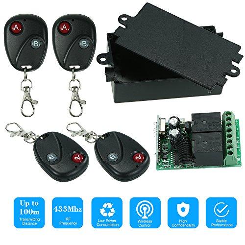 OWSOO 433 MHz DC 12 V 2CH Universal 10A Relais Drahtlose Fernbedienung Schalter Empfängermodul und 4 STÜCKE 2 Schlüssel RF 433 MHz Sender Fernbedienungen 1527 Chip Smart Home Automation