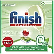 Finish 0% All in 1 Spülmaschinentabs, phosphatfrei – Geschirrspültabs gegen hartnäckigste Fettanschmutzungen – Ohne Duft- und Konservierungsstoffe – Großpackung mit 55 Finish Tabs