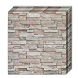 Shikha 3D Wall Panel Stone Wall Design Farmhouse 10 Pack 3D Self-Adhesive Faux Foam Bricks Waterproof Wallpaper Living Room Bedroom Background Wall Decoration(10, Natural Granite Stone)