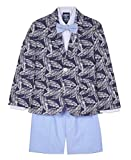 IZOD Boys' Toddler 4-Piece Suit Set with Dress Shirt, Bow Tie, Shorts, and Jacket, Tropical Blue, 2T