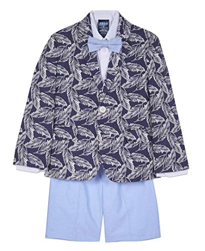 IZOD Boys' Toddler 4-Piece Suit Set with Dress Shirt, Bow Tie, Shorts, and Jacket, Tropical Blue, 3T