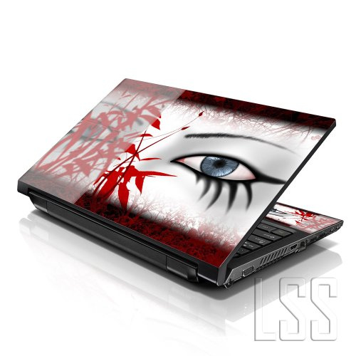 LSS 17 17.3 inch Laptop Notebook Skin Sticker Cover Art Decal Fits 16.5' 17' 17.3' 18.4' 19' HP Dell Apple Asus Acer Lenovo Asus Compaq (Free 2 Wrist Pad Included) Red Secretive Eye