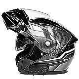 Motorcycle Helmet with Bluetooth Dual Visor Flip up Modular Full Face Helmet (Carbon Fiber White, XXL)