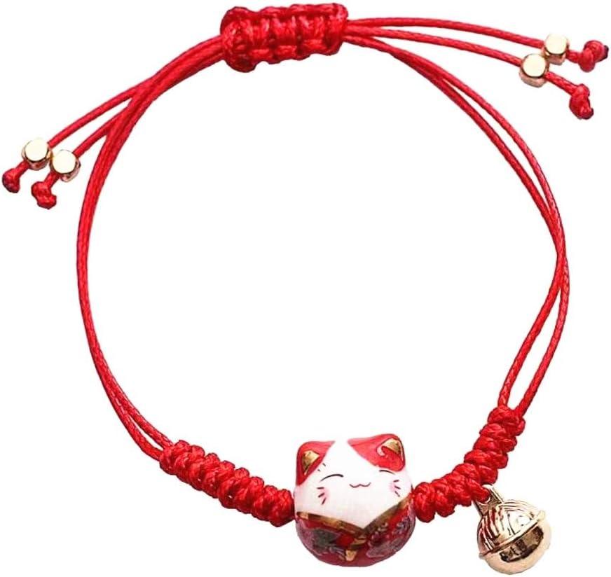 EatingBiting Feng Shui Lucky Red Ceramics Cat Bracelet Maneki Neko Fortune Wealth Bracelet for Fortune Rich Money Symbol for Purse Bag Bracelet Key Chain Cellphone