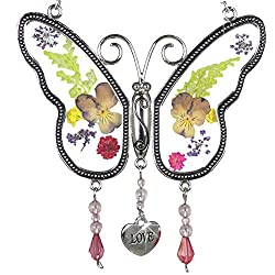 Butterfly Suncatcher wth Real pressed flowers makes a great mothers day gift!